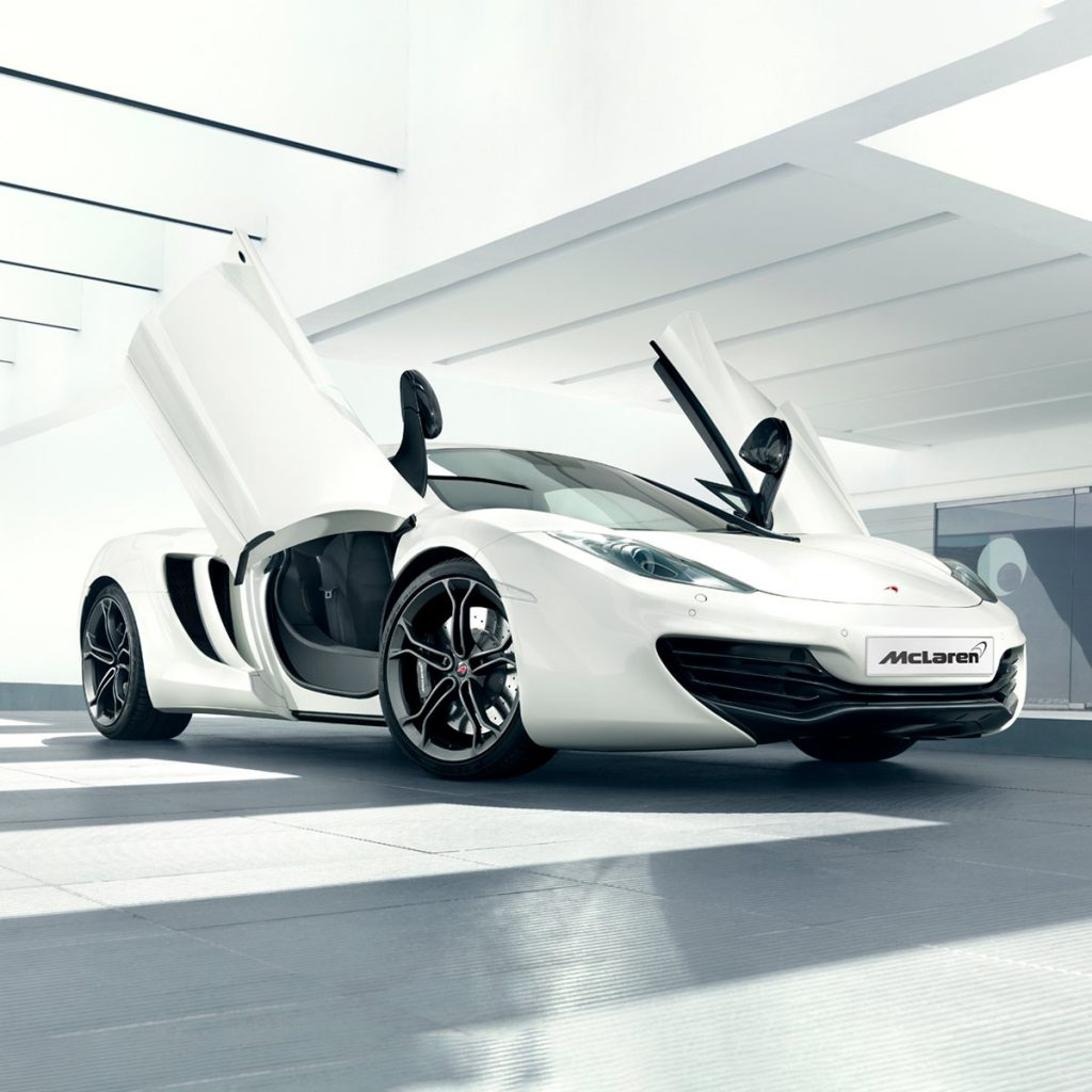 White McLaren 12c in studio setting