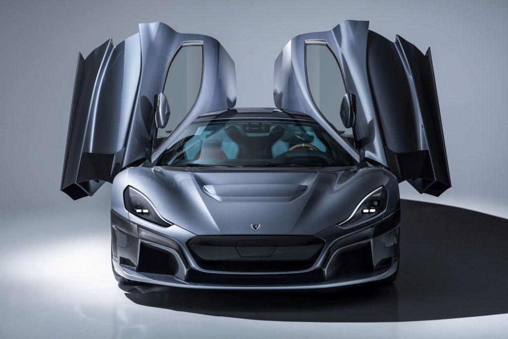 Gullwing doors on Rimac C Two