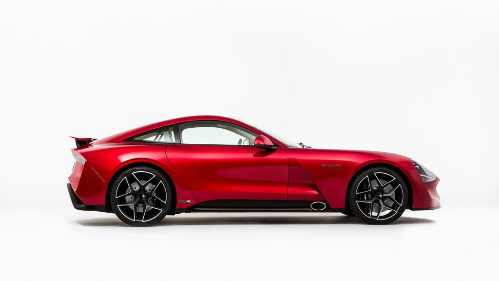 Side view of red TVR Griffith